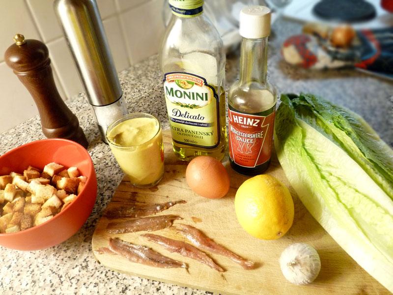 Caesar salát - ingredience