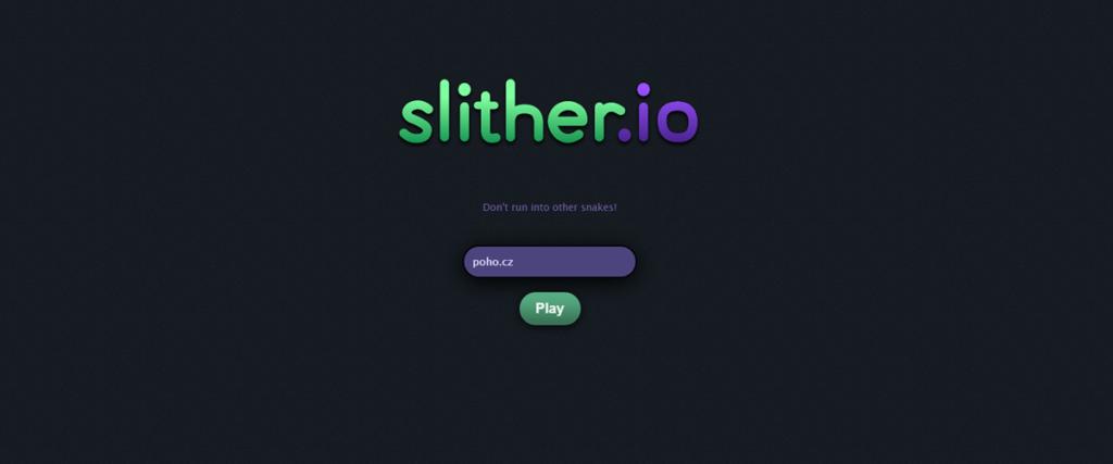 Přihlašovací obrazovka slither.io