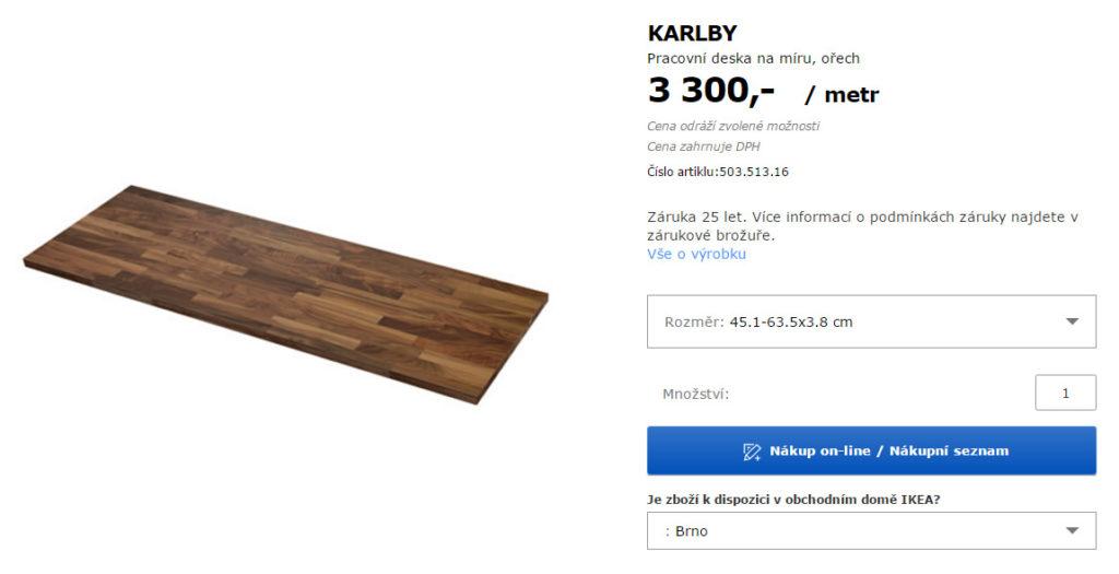 Pracovní deska Karlby