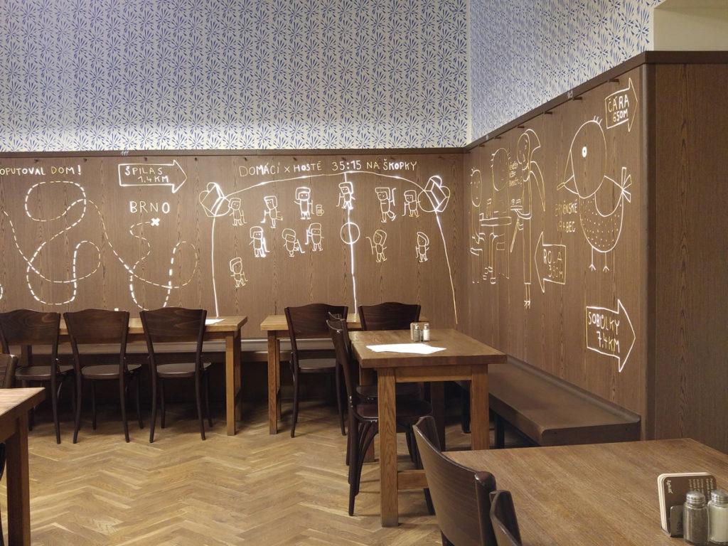 Interiér Lokálu U Caipla v Brně