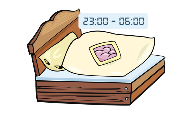Spaní sedm hodin